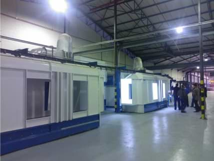 Powder Coating booths with powder recovery systems and cyclones