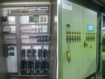 Photo of control cabinet for modern auto metal finishing line