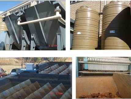 Metal precipitation Effluent plants. Clarifiers, flocculation tanks, Fitler press with cake waste.