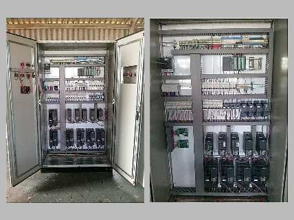 Ccontrol cabinets with PLC and multiple VFD